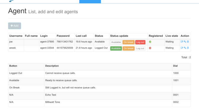 Call Center Dialer agent screen